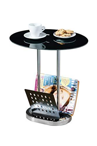 Premier Housewares Table ovale Porte-revue Plateau en verre noir Pieds chromés 54 x 50 x 40 cm