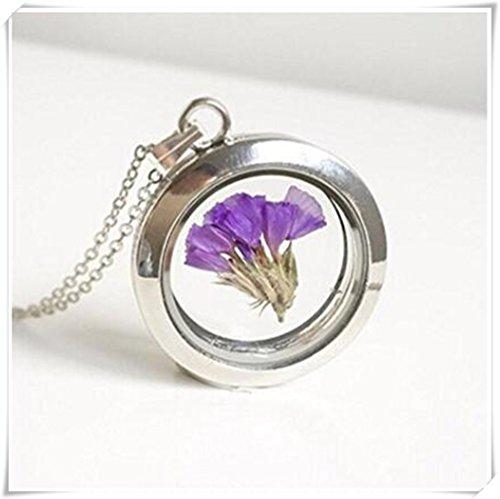 schwebenden medaillon charme limonium kette - glas - mori - mädchen - lila - natur - statice - wald - getrocknete violet - garten (Wald Violett)