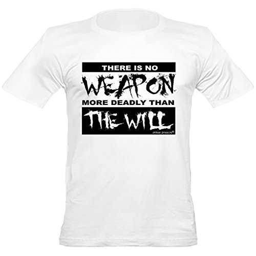 urban shaolin Mens Bruce Lee QuoteThe Is No Weapon More Deadly Than The Will Inspired Fitted T Shirt, White