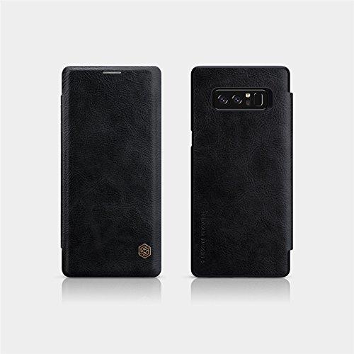 Sanchar's Qin Vintage Leather Case For Samsung note 8 Luxury Flip Cover Case for Samsung note8 Wallet Cases with Card Slot - Black