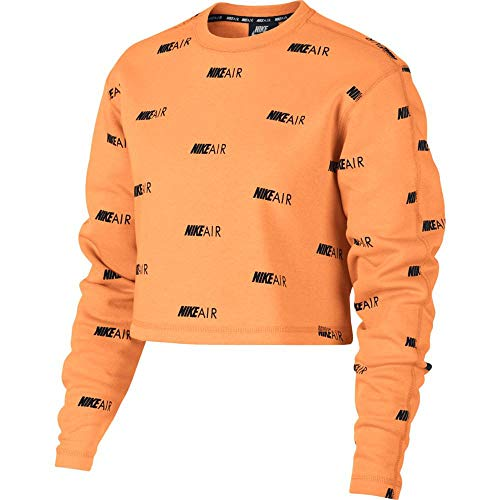 Nike Damen Air Crew Fleece AOP Sweatshirt, Fuel orange/Black, S -