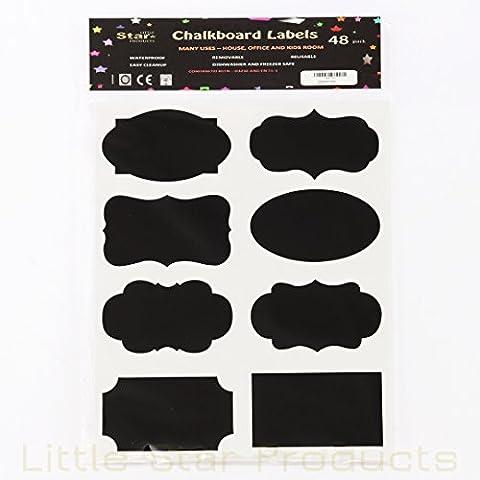 Little Star Labels - Etichette decorative a lavagna, grandi, confezione da 48, impermeabili, lavabili in lavastoviglie, autoadesive, riutilizzabili, resistenti e durevoli