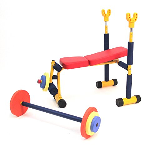 Redmon Fun and Fitness Exercise Equipment for Kids Weight Bench Set
