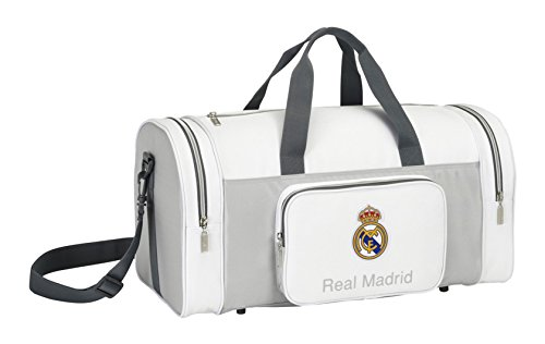 Safta 047657 Real Madrid Bolsa de Deporte, Color Blanco y Gris