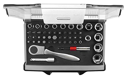 CAROLUS 4400.0049 Steckschlüssel-Satz 1/4″ mit Bit-Fix-Adapter compact 49-TLG