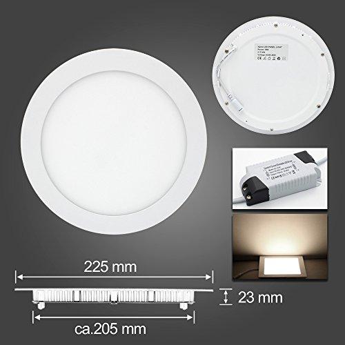 BAODE 6-24W LED Panel Leuchte Dimmbar Deckenlampe Rund Ultraslim Einbaustrahler 105-280mm (18W/225mm Neutralweiß)