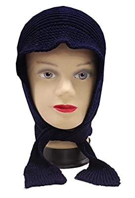 Romano Women's Winter Blue Wool Cap With Scarf Attached