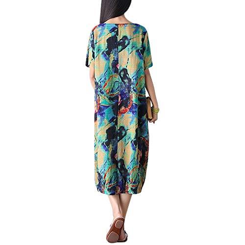 FeiXing158 Kleid 2019 Vintage Floral Print Kleider Damen Kurzarm O Neck -