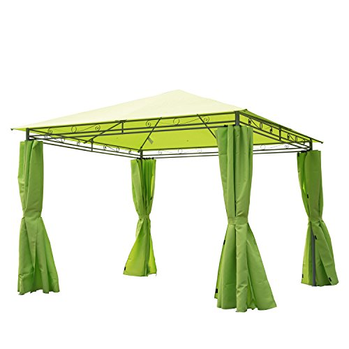 Outsunny 3 x 3 m Garden Metal Gazebo Marquee Patio Party Tent Canopy Shelter with Pavilion Sidewalls – Green