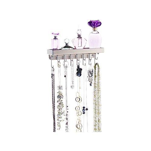 Halskette Halter Wand montiert Zum Aufhängen Jewelry Organizer Rack Stauraum Jewelry Aufhänger, Metall, Satin Nickel Silver, Small 9