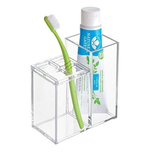 iDesign Clarity Zahnbürstenhalter, praktischer Halter für Zahnbürsten und Zahnpasta, Zahnbürstenaufbewahrung aus Kunststoff für den Waschtisch oder Schrank, durchsichtig (Zahnbürste Platz)