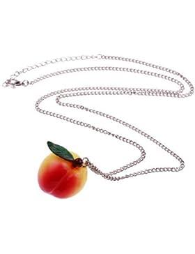 Pfirsich Halskette - ca. 70cm lange Kette - Obst Anhänger Gemüse Früchte Frucht