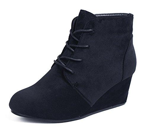 AgeeMi Shoes Damen Rund Zehe Nubuk Schnürsenkel Keilabsatz Stiefeletten,EuX39 Schwarz 37 (Stiefel Nubuk, Runde)