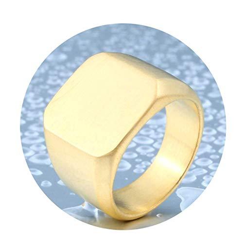 Aeici Ring 17Mm Gothic Ring Unisex Glänzend Poliertes Rechteck Ring Herren Edelstahl 62 (19.7) Ringe Gold -