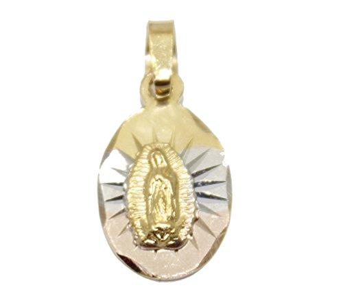 Diamantados of Florida Virgen de Guadalupe Medalla - Nuestra Señora de Gudalaupe Medalla 14 K Chapado en Oro Tres Tonos Oro Oval Colgante con Cadena de 18 Pulgadas
