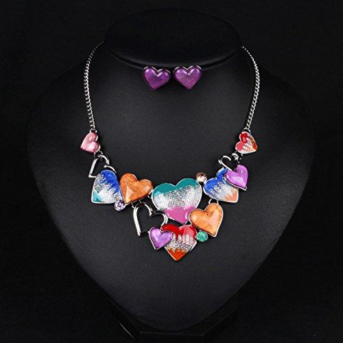 Femme Alliage Collier Exagéré Le Diamant La Mode Doux En Forme De Coeur Costume Multicolore