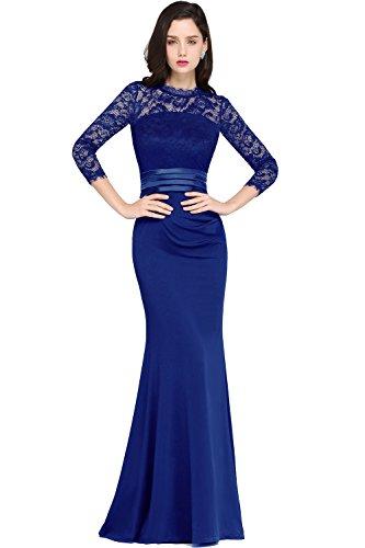 Damen Damen Langes Abendkleider Ballkleid 3/4 Arm Satin Abschlusskleid Festkleider Royalblau 40