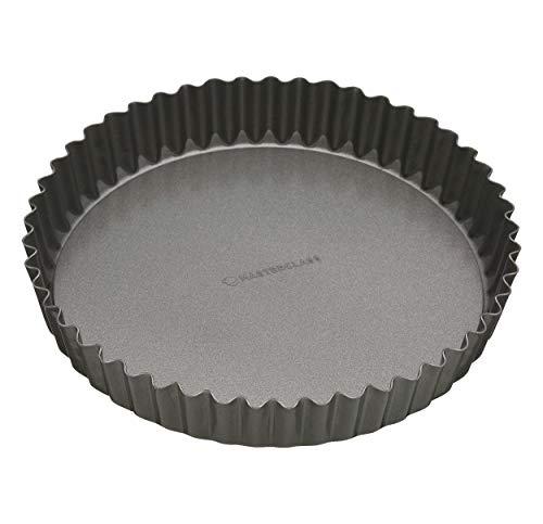 KitchenCraft KCMCHB40 Master Class Flan-/Quiche-Form, geriffelt, antihaftbeschichtet, mit Hebeboden, aluminium, grau, 30 cm (12 inches) -