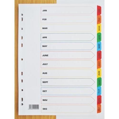 A4, 12-teiliges Register, Januar-Dezember, Mylar-Reiter, mehrfach gelocht, Weiß, Ref 20274 Set