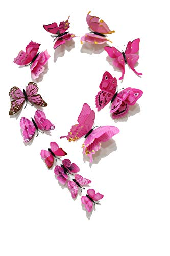 FiveRen 12 Pcs 3D mariposa pegatinas de pared, vívida imán de refrigerador Home Decor Art Applique bricolaje artesanal extraíble para dormitorio de bebé TV Sala de estar, Rosado