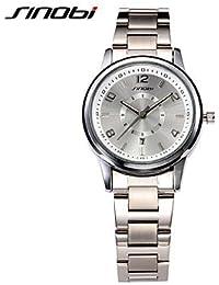 Relojes Hermosos, Mujer Reloj de Moda Cuarzo Calendario / Resistente al Agua Aleación Banda Plata Marca- SINOBI ( Color : Plateado , Talla : Para Mujer-Una Talla )