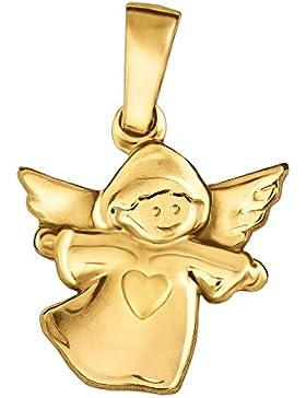 CLEVER SCHMUCK Goldener Anhänger kleiner Kinderengel 11 x 13 mm mit Herz seidenmatt 333 GOLD 8 KARAT