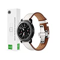 Mifan Official Genuine Leather Band for Samsung Gear S3/Galaxy Watch 46mm/Other 22mm Width Smart Watch Strap Replacement Wristband Bracelet White with Silver Click Folding Buckle