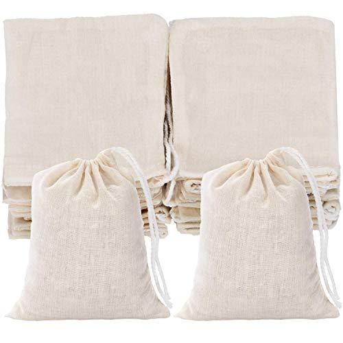 Sachets Réutilisables Thé Mousseline de Coton Double Cordon Souvenir Cadeau Lot de 24 Pièces 7 cm x 10,1 cm