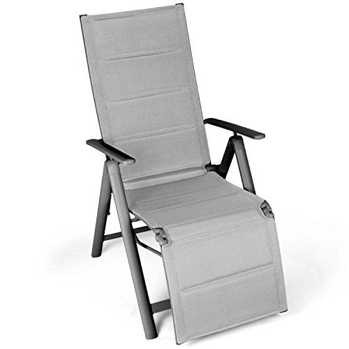 Vanage sedia a sdraio pieghevole imbottita con poggiapiedi, schienale reclinabile e braccioli, ideale per giardino, balcone o spiaggia - grigio