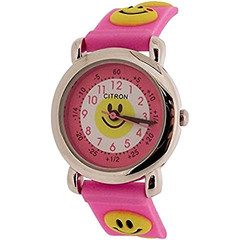 Citron Time Teacher Smiley Face – Analogico Cinturino in silicone rosa