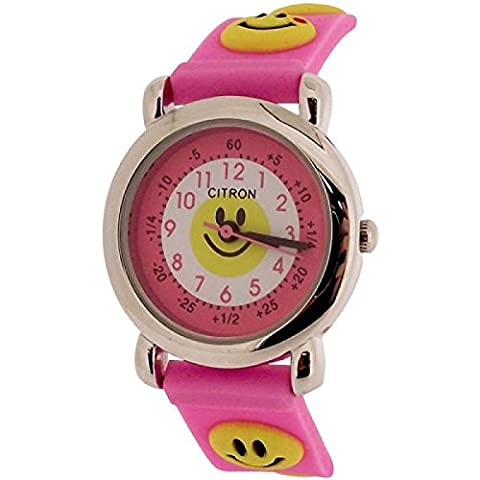 Citron Analogue Kids Time Teacher Smiley Face Pink Silicone Strap
