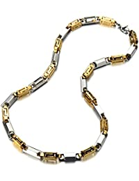 7MM 22inches Steel Fancy Link Chain Necklace for Men Silver Gold Two-tone with Lobster Claw Clasp ¡­
