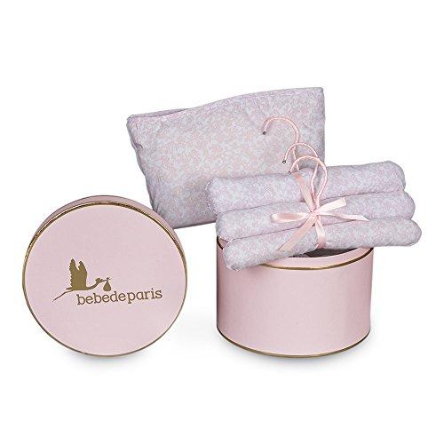 Canastilla regalo bebé modelo Happy Vintage BebeDeParis-Rosa- caja regalo complementos recién nacido