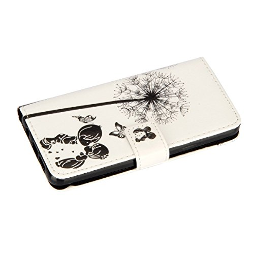 Galaxy A3 2016 Hülle, Galaxy A3 2016 Hülle Ledertasche Brieftasche handyhülle im BookStyle, SainCat PU Leder Wallet Case Folio Schutzhülle Painted Muster Hülle Bumper Handytasche Skin Schale Soft Back Löwenzahn Kind#