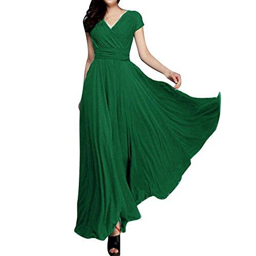 LEXUPE Mode Femme Couleur Unie BohèMe Col en V AsyméTrique Ourlet à Manches Courtes en Mousseline Robe Longue Taille PlisséE