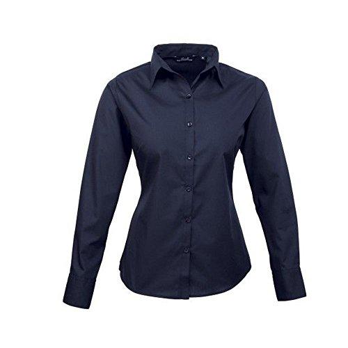 Premier Workwear Damen Bluse Ladies Poplin Long Sleeve Blouse Blau - Navy