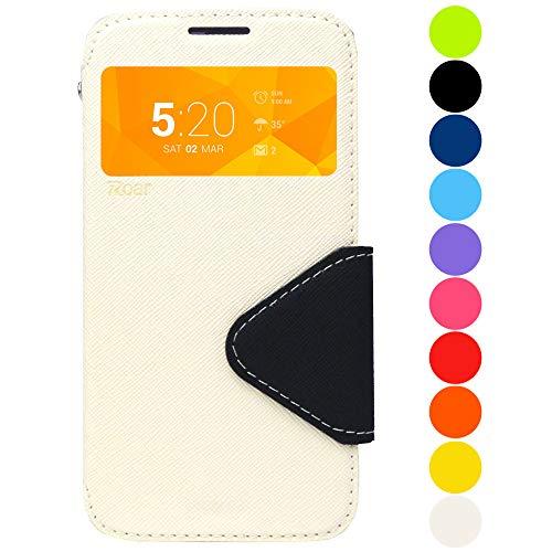 Roar Handy-Hülle für Samsung Galaxy J5 (2017) J520F, Hülle in Weiß, Schutzhülle Tasche Handytasche [Premium Flip-Case mit Sichtfenster, Magnetverschluss, Standfunktion] - Weiß Premium Flip Case