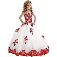 KekeHouse® Bambina Fiore Abiti per Sposa Principessa Abito da Comunione da  Spettacolo Ragazze Vestito Festa 7a70a98ab25