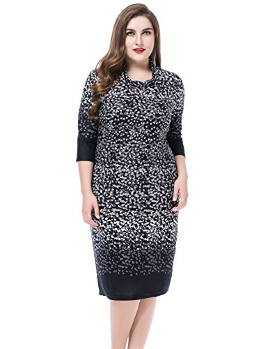 Chicwe Damen Wasserfallausschnitt gedruckt Cashmere Touch Große Größen Kleid 50 Black (Drucken Trapez)