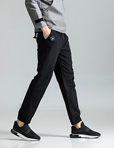 Boom Fashion Chino Hose Herren Sweatpants Sporthose Baggy Jogginghose Slim Trainingshose Cargo Pants Schwarz