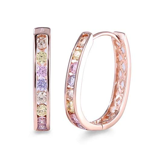 Gulicx - orecchini a cerchio, in oro rosa, con cristalli, da donna, con zirconi colorati