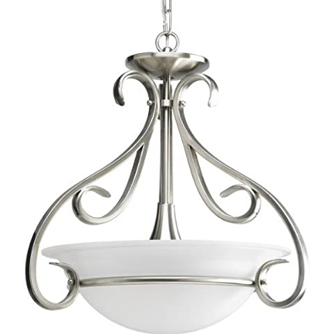 Progress Lighting P3843-09 3-Light Semi-Flush with Etched White Bell-Shaped Glass