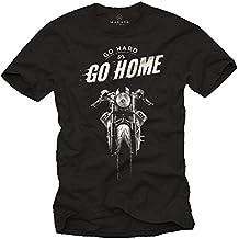 MAKAYA Maglietta Uomo Nera - T-Shirt Moto Vintage Cafe Racer