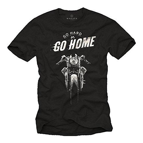 MAKAYA Maglietta Uomo Nera - T-Shirt Moto Guzzi Vintage Abbigliamento Cafe Racer L