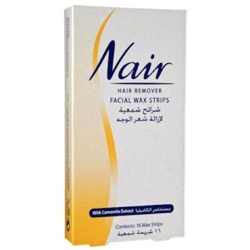 nair-16-wax-strips-waxing-facial-hair-removal-camomile-pack-of-4