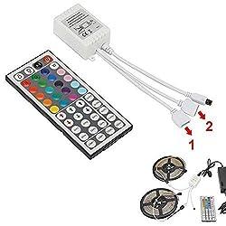12V Fernbedienung, 44-Tasten IR Wireless Controller mit 2-in-1 RGB LED Streifen DC-Anschluss, 4-polige Dimmer Helligkeits Blitzsteuerungsoptionen, LED Zubehör für SMD3528 5050 LED Streifen