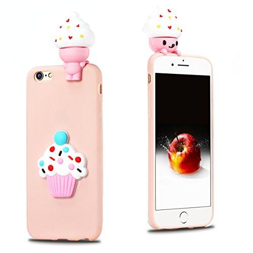 iphone 6 Plus Hülle, iphone 6s Plus Schutzhülle Einfarbig, 3D Weißer Panda Muster Design Handy Hülle für iphone 6 6s Plus (5.5 Zoll), Ultra Dünn TPU Weich Silikon Handycover Schale Schutzhülle Ultradü Rosa Eiscreme