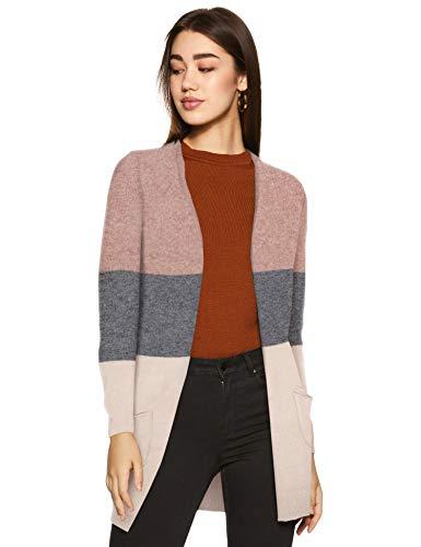 ONLY NOS Damen onlQUEEN L/S Long Cardigan KNT NOOS Strickjacke, Mehrfarbig (Misty Rose Stripes:W. MGM/Cloud Pink Melange), 38 (Herstellergröße: M)