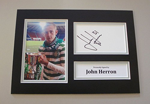 john-herron-signed-a4-photo-autograph-display-glasgow-celtic-memorabilia-coa