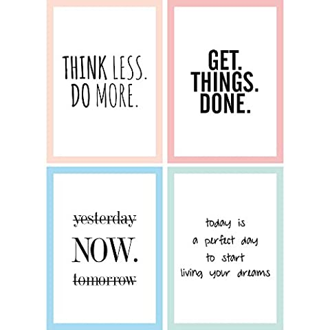 CUPCAKES & KISSES 4er Motivation Poster Sparset / motivierende Zitate & Sprüche / Hochformat / DIN A4 / Quote / in schwarz und weiß mit buntem